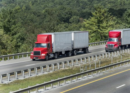 Big Trucks Traveling On Highway