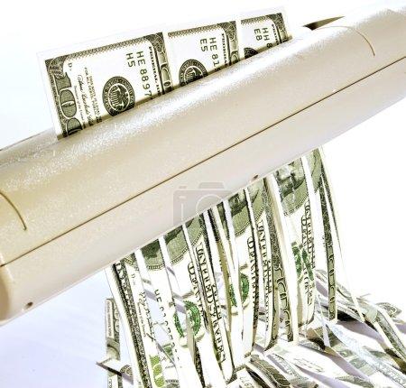 Shredding Money Concept of Losing Money