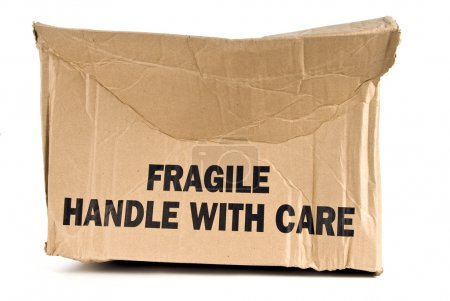 Fragile Handle With Care Brown Box Crushed