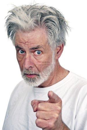 Old Man Pointing Finger At Camera