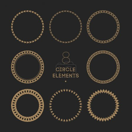 Vector collection of circle frames. Chain and Chevron