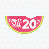 Summer Sale 20 persent off Vector triangular background with watermelon