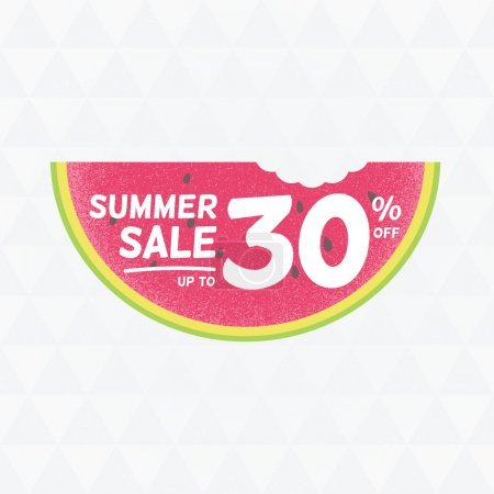 Summer Sale 30 persent off. Vector triangular background with watermelon