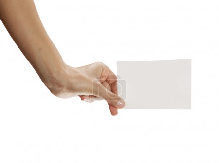 hand holding blank sheet of paper