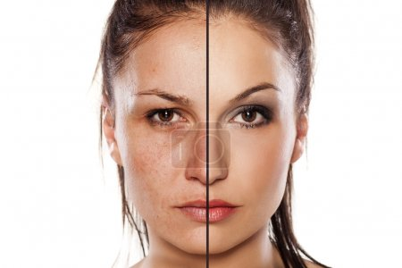 Photo for Comparison portrait of a woman with and without makeup - Royalty Free Image