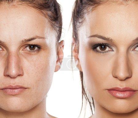 Photo pour Portrait comparatif d'une femme avec ou sans maquillage - image libre de droit