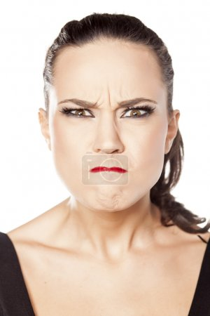 Woman with angry face