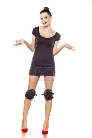 High heels and knee protectors