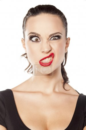 Woman with funny face