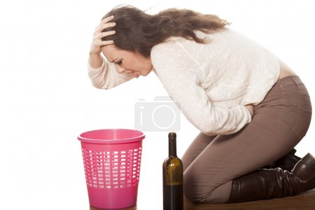 woman vomits