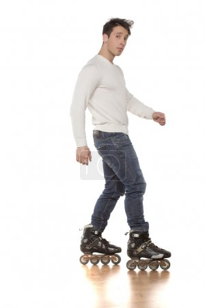 man with roller skates