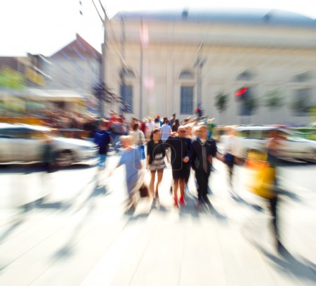 Photo for Busy city street people on zebra crossing. Intentional motion blur - Royalty Free Image