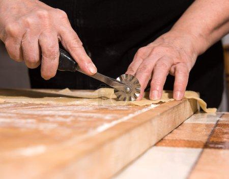 Woman making homemade pasta