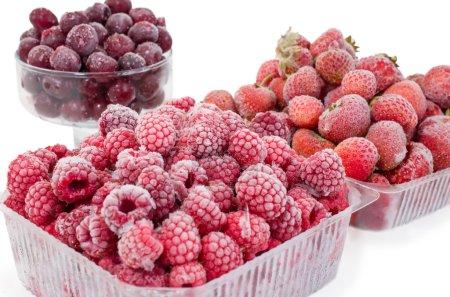 frozen strawberries, cherry and raspberries