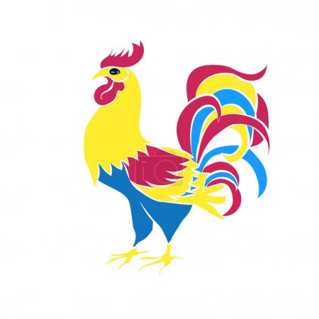 Color silhouette of an cock