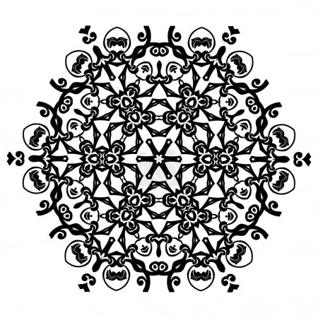 Ornament black white card with mandala.