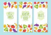 Healty food cartoon representing banners set
