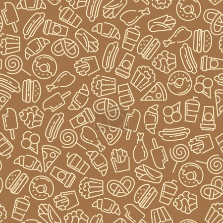 Fast food. Set of cartoon vector seamless pattern.