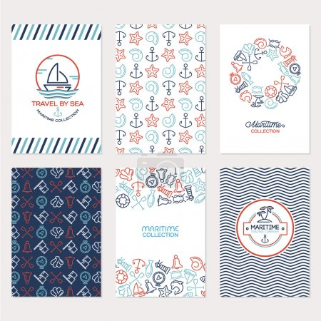 Travel by sea collection illustration