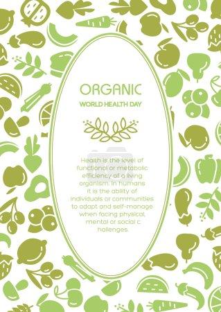 Illustration for Organic world health day. Fruit and vegetables background illustration - Royalty Free Image
