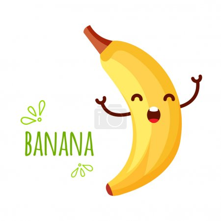 Illustration for Cheerful Cartoon banana raising his hands. isolated on the white background - Royalty Free Image