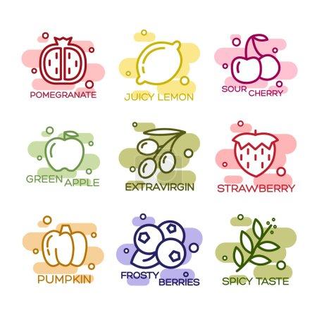Illustration pour Ensemble d'icônes bordées de fruits et légumes vectoriels - image libre de droit