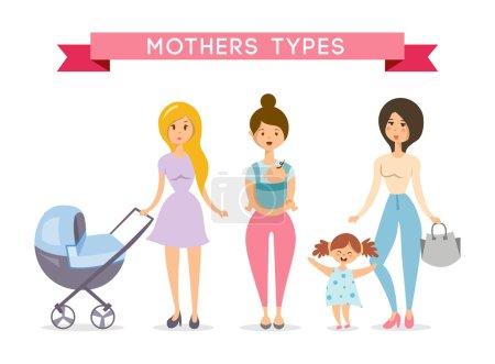Illustration pour Des mamans avec des bébés. Illustration vectorielle amour mère - image libre de droit