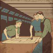 Group of workers having a meeting after work in the plant retro vector illustration