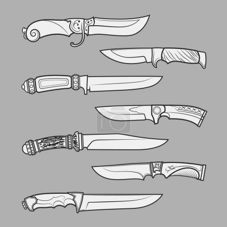 Illustration pour Ensemble de divers modèles de couteaux vectoriels de chasse, de combat et décoratifs isolés sur fond gris. Collection détaillée de symboles et d'éléments graphiques - image libre de droit
