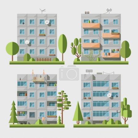 Illustration for Set of vector flat style facades of panel houses. Classic blocks of flats architectural symbols and design elements. Collection for product promotion and advertising isolated on white background - Royalty Free Image