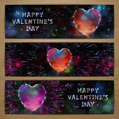 Space heart banners