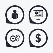 Business icons Human silhouette and presentation board with charts signs Dollar currency and gear symbols Flat icon pointers