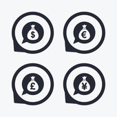 Money bag icons Dollar Euro Pound and Yen speech bubbles symbols USD EUR GBP and JPY currency signs Flat icon pointers