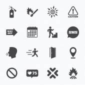 Calendar go to web and like counter Fire safety emergency icons Fire extinguisher exit and attention signs Caution water drop and way out symbols Sms speech bubble talk symbols
