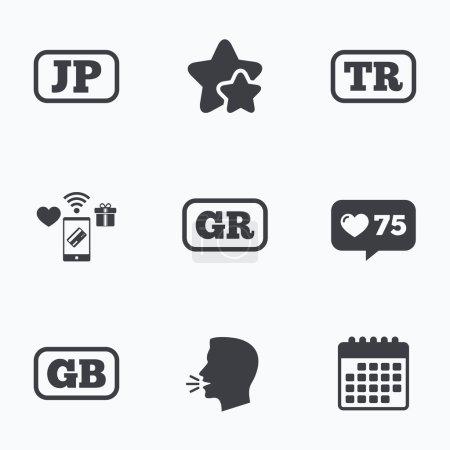 Iconos de idioma. JP, TR, GR