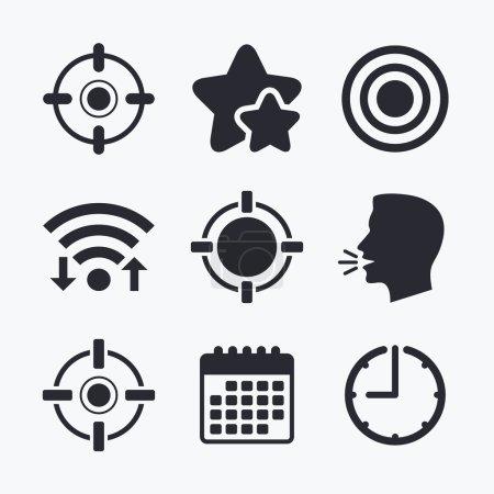 Crosshair icons. Target aim signs symbols.
