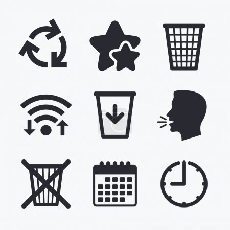Illustration for Recycle bin icons. Reuse or reduce symbols. Trash can and recycling signs. Wifi internet, favorite stars, calendar and clock. Talking head. Vector - Royalty Free Image