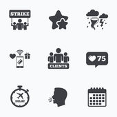 Strike icon Storm weather and group of people
