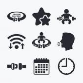 Fasten seat belt icons Child safety in accident symbols Vehicle safety belt signs Wifi internet favorite stars calendar and clock Talking head Vector