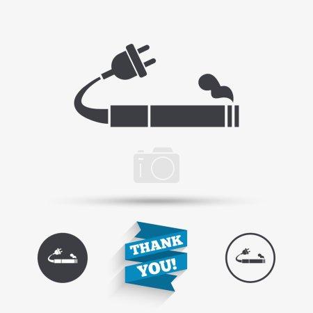Illustration pour Icône de signe fumeur. E-Cigarette symbole. Une cigarette électronique. Icônes plates. Boutons avec icônes. Merci, Ruban. Vecteur - image libre de droit
