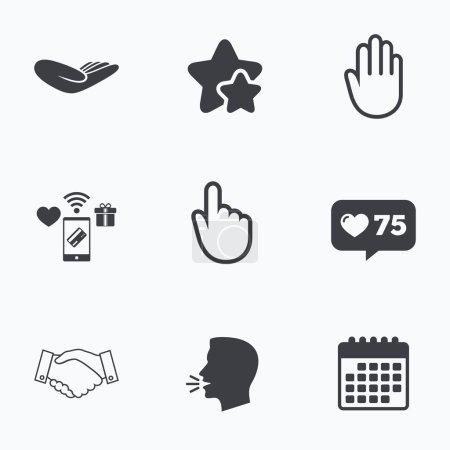 Illustration pour Des icônes. Poignée de main réussie symbole d'entreprise. Cliquez ici signe de presse. Un don humain. Tête plate, icônes du calendrier. Des étoiles, comme des contre-icônes. Vecteur - image libre de droit