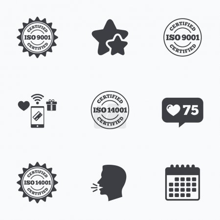 Illustration for ISO 9001 and 14001 certified icons. Certification star stamps symbols. Quality standard signs. Flat talking head, calendar icons. Stars, like counter icons. Vector - Royalty Free Image