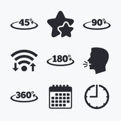 Angle 45-360 degrees icons Geometry math signs symbols Full complete rotation arrow Wifi internet favorite stars calendar and clock Talking head Vector