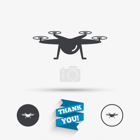 Drone icon. Quadrocopter symbol.