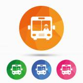 Bus sign icon Public transport with driver symbol Triangular low poly button with flat icon Vector