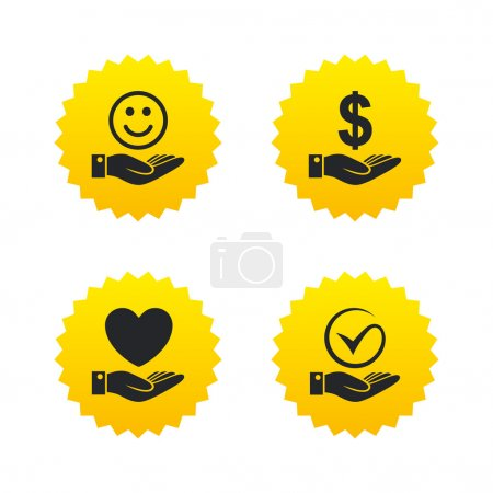 Illustration for Smile and hand icon. Heart and Tick or Check symbol. Palm holds Dollar currency sign. Yellow stars labels with flat icons. Vector - Royalty Free Image