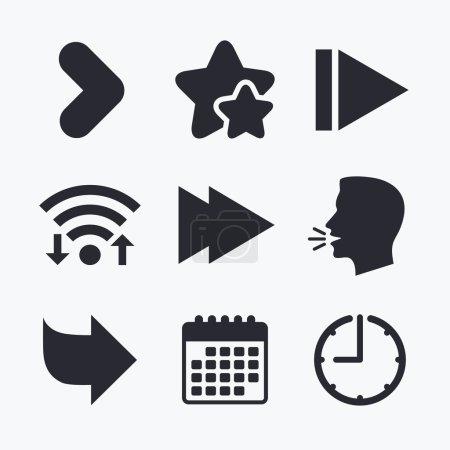 Arrow icons. Next navigation arrowhead signs. Dire...