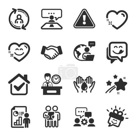 Set von Menschen-Symbolen, wie Lächeln, Engineering Team, Safe Water-Symbole. Umfrage, Benutzerinfos, Zeitzeichen für Präsentationen. Leckeres Lächeln, Händedruck, Herz. Interview-Job, Geschäftsbericht. Vektor