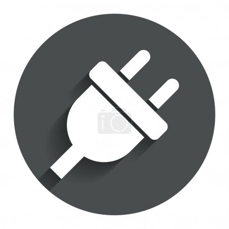 Illustration for Electric plug sign icon. Power energy symbol. Circle flat button with shadow. Modern UI website navigation. Vector - Royalty Free Image
