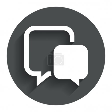 Illustration for Chat sign icon. Speech bubble symbol. Communication chat bubble. Circle flat button with shadow. Modern UI website navigation. Vector - Royalty Free Image